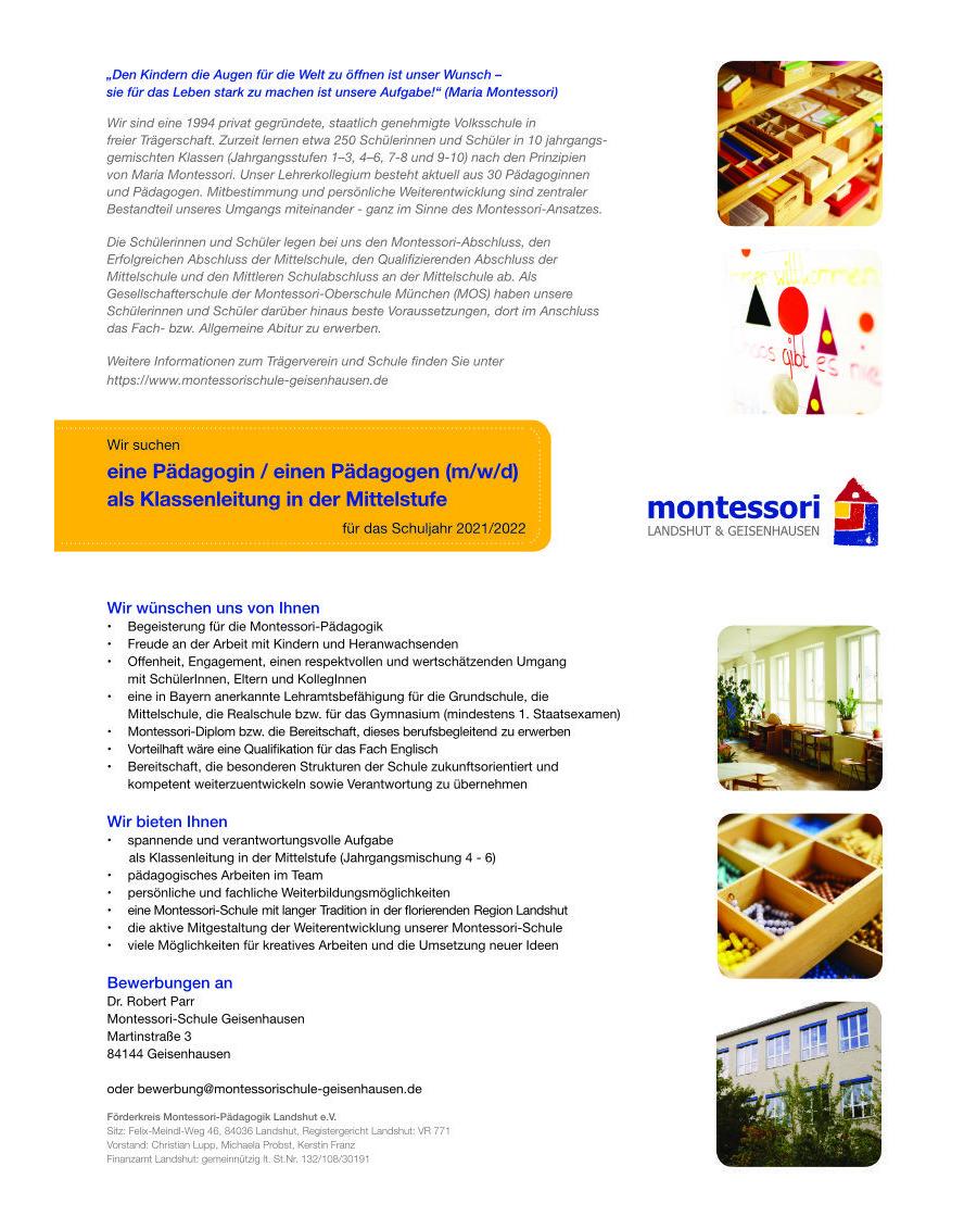 Stellenanzeige Pädagogin / Pädagoge als Klassenleitung in der Mittelstufe (m/w/d)